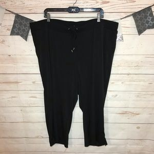 Avenue Black Drawstring Pull On Crop Jersey Pants